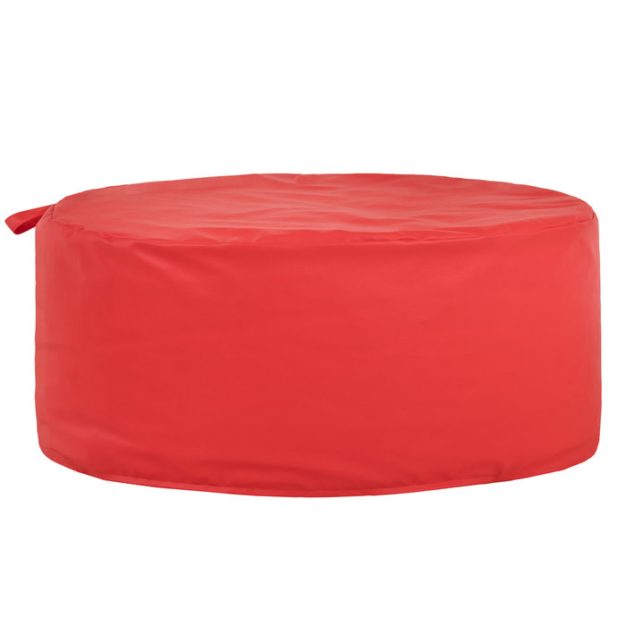 Czerwona Pufa Okrągła Ekoskóra